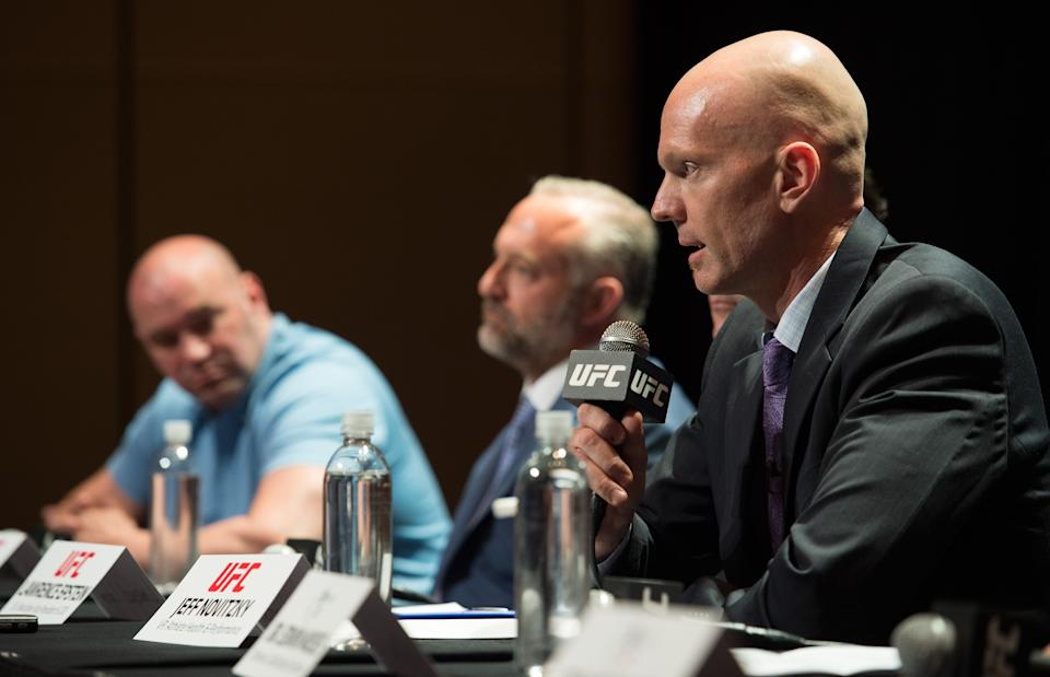 LAS VEGAS, NV - JUNE 03:  VP of Athlete Health & Performance Jeff Novitzky speaks to the media during the UFC anti-doping policy press conference at the Red Rock Casino Resort June 3, 2015 in Las Vegas, Nevada. (Photo by Brandon Magnus/Zuffa LLC/Zuffa LLC via Getty Images)