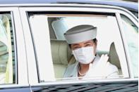 <p>Japan's Empress Masako was spotted wearing a medical mask earlier this summer. Here she is arriving at the Imperial Palace in Tokyo, for a ceremony marking the 20th anniversary of the death of Empress Kojun in June.</p>
