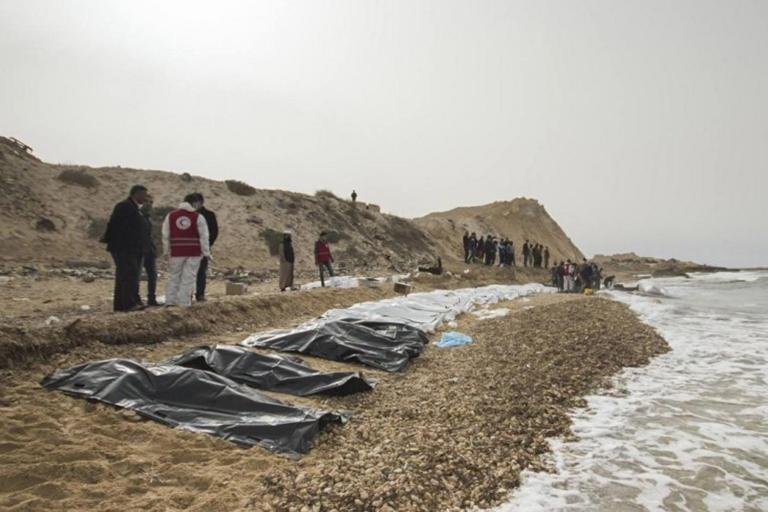 Scores of corpses found washed up on beach in Libya