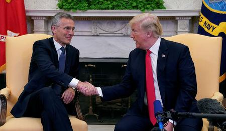 Trump meets with NATO Secretary General Jens Stoltenberg at  the White House in Washington