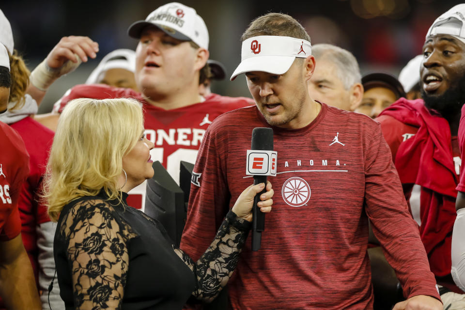 ARLINGTON, TX - DECEMBER 07: Oklahoma Sooners head coach Lincoln Riley gets interviewed ESPN Sideline Reporter Holly Rowe after the game between the Baylor Bears and the Oklahoma Sooners on December 07, 2019 at AT&T Stadium in Arlington, Texas. (Photo by Matthew Pearce/Icon Sportswire via Getty Images)