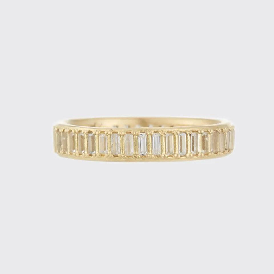 "$1290, Armenta. <a href=""https://www.bergdorfgoodman.com/p/armenta-old-world-sueno-white-sapphire-baguette-band-ring-prod133000089"" rel=""nofollow noopener"" target=""_blank"" data-ylk=""slk:Get it now!"" class=""link rapid-noclick-resp"">Get it now!</a>"