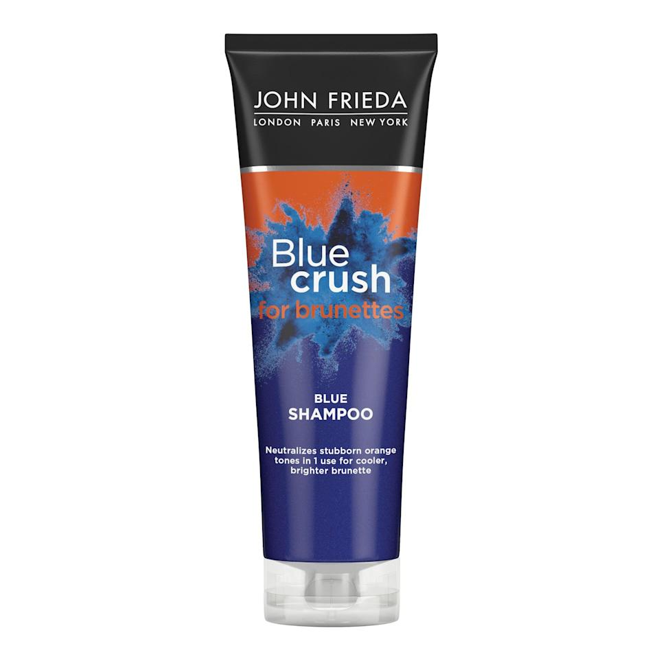 <p>You've probably heard of purple shampoo for blondes, but now John Frieda is making a blue-toned color-correcting shampoo called Blue Crush Shampoo ($10, available in January) for brunettes. It's meant to get rid of stubborn orange tones in brown hair that's been color processed in the past.</p>