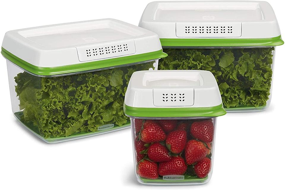 """<p>Keep your produce fresh for longer with these <a href=""""https://www.popsugar.com/buy/Rubbermaid-FreshWorks-Produce-Saver-Food-Storage-Containers-570264?p_name=Rubbermaid%20FreshWorks%20Produce%20Saver%20Food%20Storage%20Containers&retailer=amazon.com&pid=570264&price=27&evar1=casa%3Aus&evar9=46738291&evar98=https%3A%2F%2Fwww.popsugar.com%2Fhome%2Fphoto-gallery%2F46738291%2Fimage%2F47453815%2FRubbermaid-FreshWorks-Produce-Saver-Food-Storage-Containers-Set&list1=shopping%2Camazon%2Chome%20shopping&prop13=mobile&pdata=1"""" class=""""link rapid-noclick-resp"""" rel=""""nofollow noopener"""" target=""""_blank"""" data-ylk=""""slk:Rubbermaid FreshWorks Produce Saver Food Storage Containers"""">Rubbermaid FreshWorks Produce Saver Food Storage Containers</a> ($27, originally $38 for a three-piece set).</p>"""