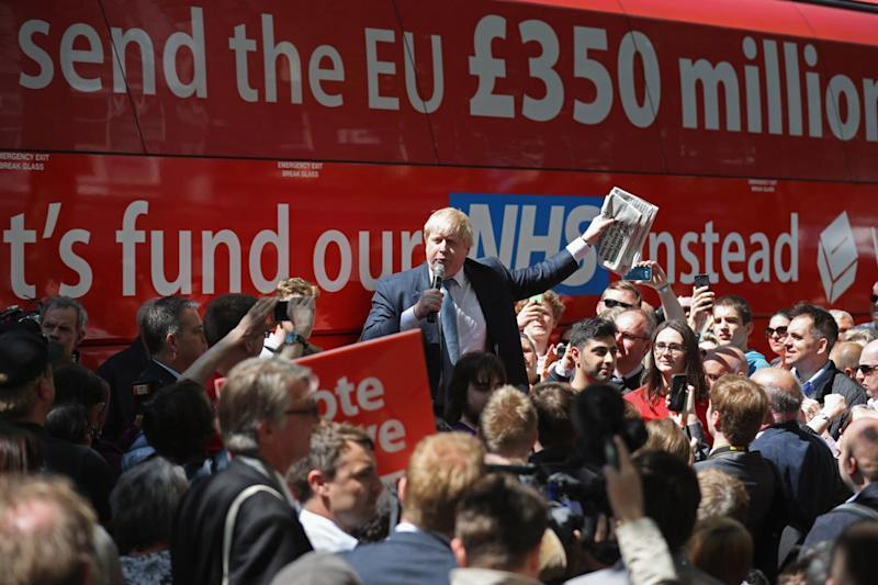 Brexit: Boris Johnson promoting the Leave campaign before last year's EU referendum (Getty Images)