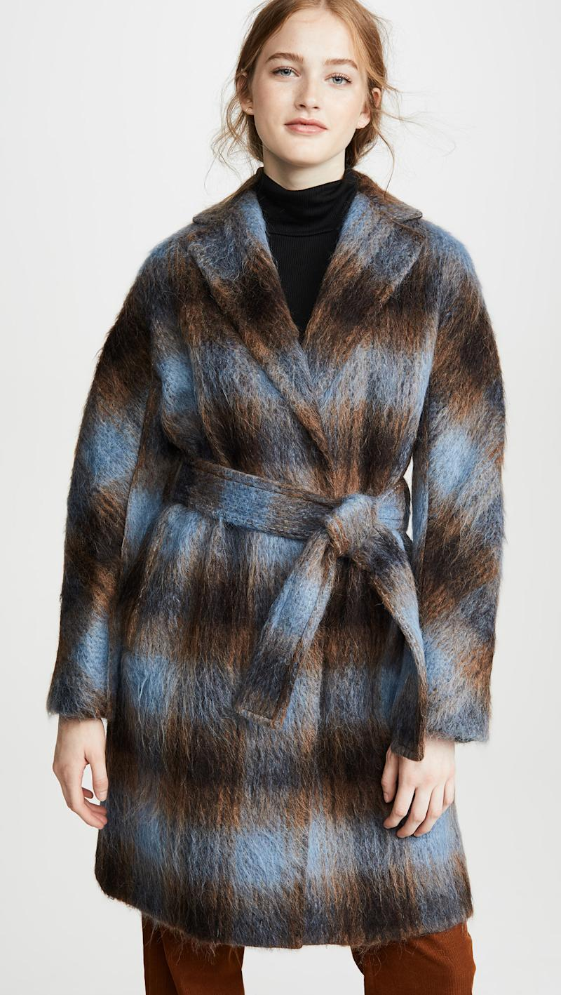 Vince Belted Plaid Coat