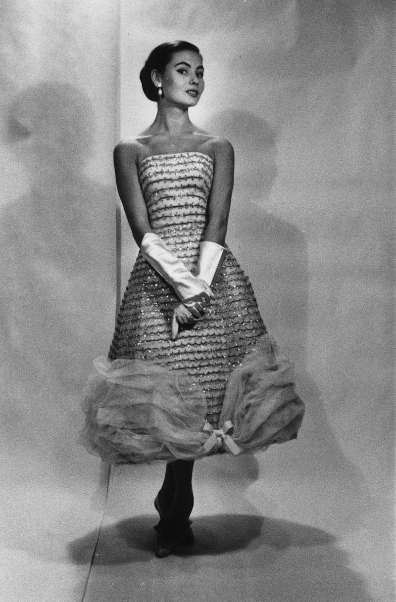 A model wearing a dress designed Givenchy, at the fashion house near the Parc Monceau in Paris.