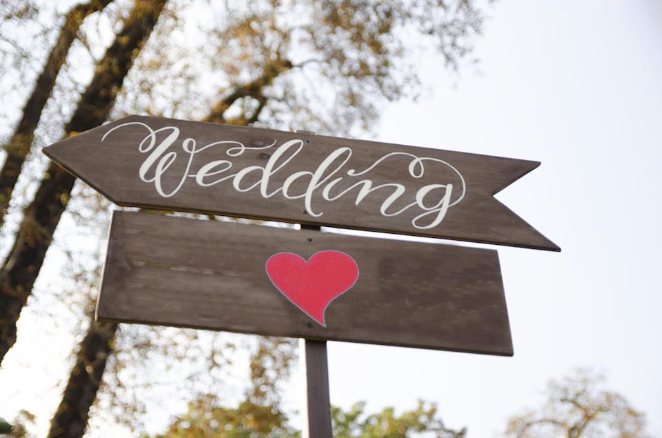 wedding signwith red heart-shape