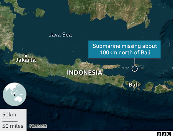 Image shows a map of Indonesia and the location where the submarine went missing