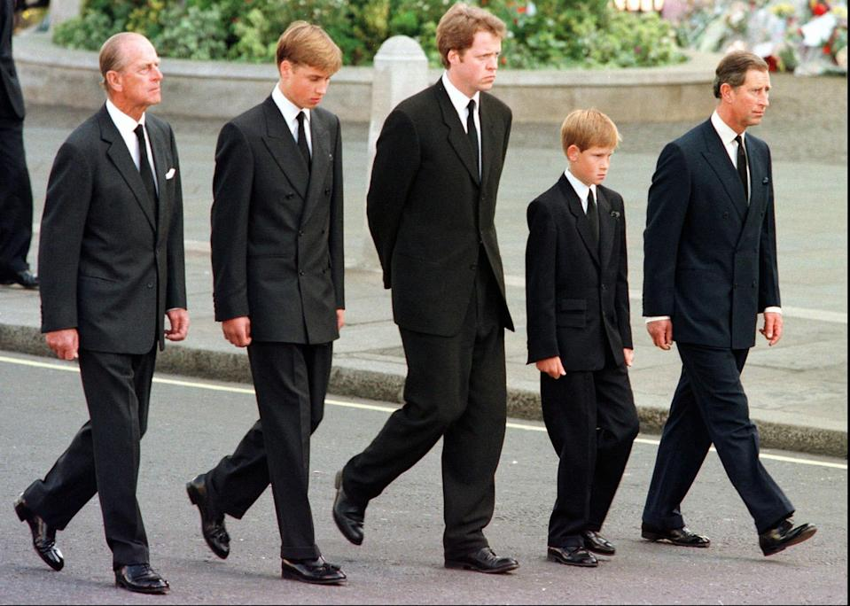 Prince Philip with Prince William, Earl Spencer, Prince Harry and Prince Charles outside Westminster Abbey during the funeral service for DianaAP