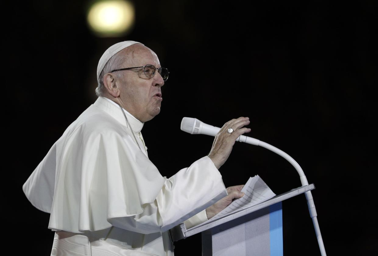 <em>Sorry – the Pope said the three words every family needs to know are 'sorry, please and thank you' (Picture: AP)</em>