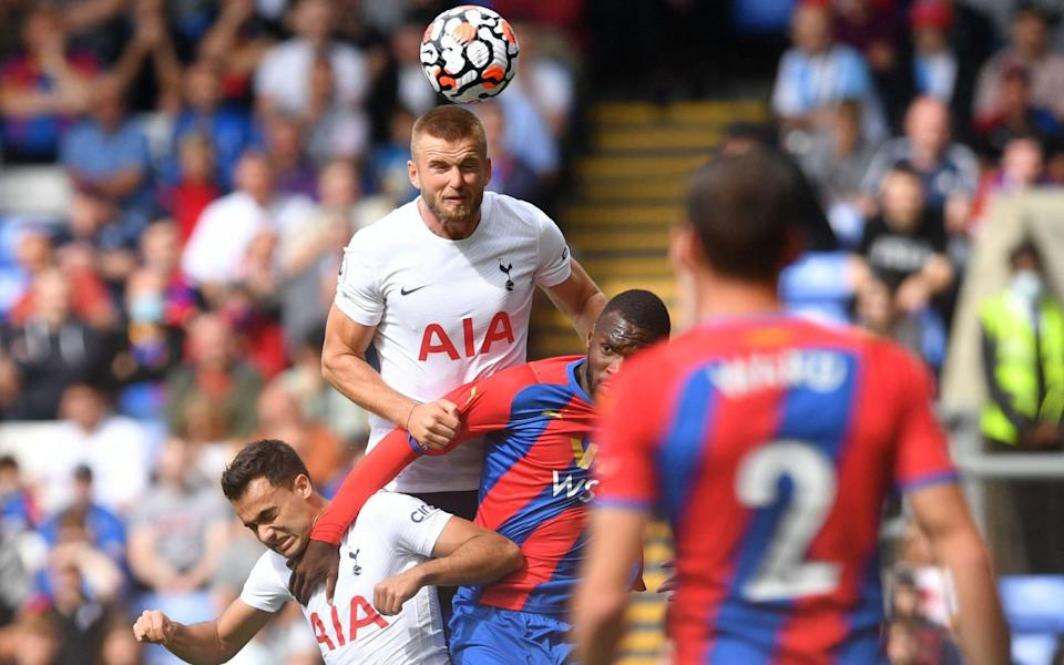 Tottenham Hotspur's English defender Eric Dier (C) heads the ball during the English Premier League football match between Crystal Palace and Tottenham Hotspur at Selhurst Park in south London on September 11, 202 - JUSTIN TALLIS/AFP via Getty Images