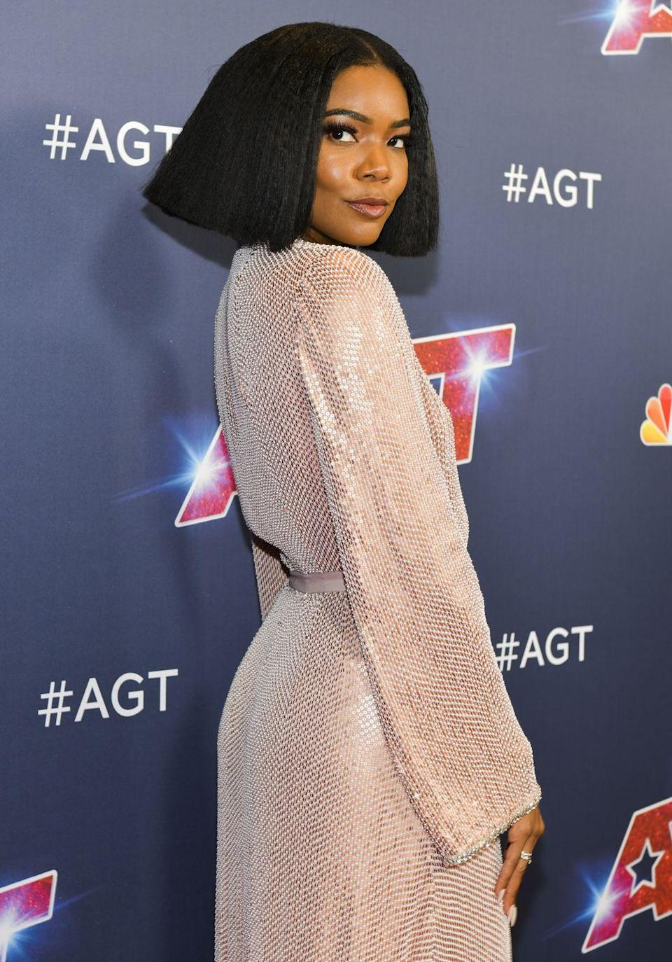 """<p><strong>Gabrielle Union</strong> shows us that a <a href=""""https://www.goodhousekeeping.com/beauty/hair/g25396437/angled-bob-hairstyles/"""" rel=""""nofollow noopener"""" target=""""_blank"""" data-ylk=""""slk:blunt textured bob"""" class=""""link rapid-noclick-resp"""">blunt textured bob</a> is a great way to switch up <a href=""""https://www.goodhousekeeping.com/beauty/hair/a39259/curly-hair-tips-and-hairstyles/"""" rel=""""nofollow noopener"""" target=""""_blank"""" data-ylk=""""slk:your curly style"""" class=""""link rapid-noclick-resp"""">your curly style</a>. Wigs are a great protective hairstyle for relaxed hair if you want a natural look. </p>"""