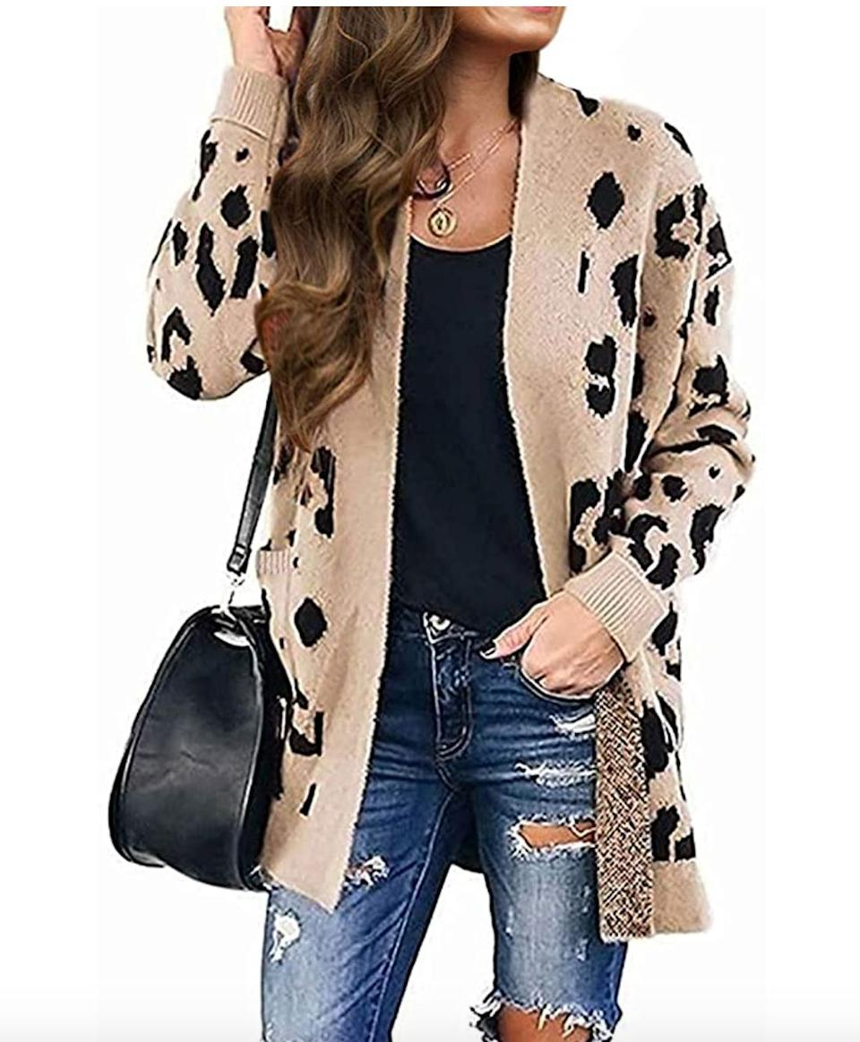 "<a href=""https://amzn.to/3cpA3EY"" target=""_blank"" rel=""noopener noreferrer"">This leopard print cardigan</a> is available in sizes XS to XL in 17 colors. Find it for $35 on <a href=""https://amzn.to/3cpA3EY"" target=""_blank"" rel=""noopener noreferrer"">Amazon</a>."