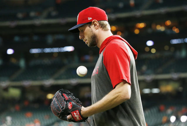 Max Scherzer is getting the ball for the Washington Nationals in Game 7 after missing Game 5 because of injury. (Photo by Tim Warner/Getty Images)