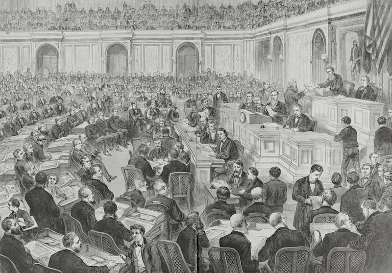 In the controversial presidential election of 1876, the outcomes in four states were in dispute, creating a stalemate that took weeks to resolve before a winner was declared. (Photo: Bettmann via Getty Images)