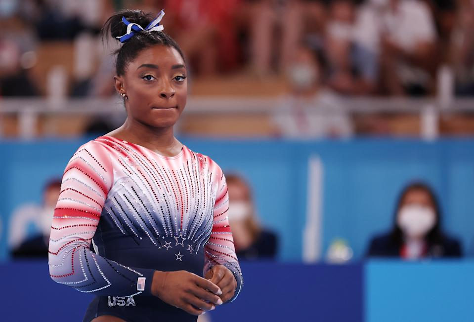 TOKYO, JAPAN - AUGUST 03: Simone Biles of Team United States competes in the Women's Balance Beam Final on day eleven of the Tokyo 2020 Olympic Games at Ariake Gymnastics Centre on August 03, 2021 in Tokyo, Japan. (Photo by Jamie Squire/Getty Images)