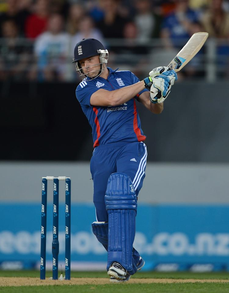 AUCKLAND, NEW ZEALAND - FEBRUARY 09:  Jos Buttler of England bats during the 1st T20 International between New Zealand and England at Eden Park on February 9, 2013 in Auckland, New Zealand.  (Photo by Gareth Copley/Getty Images)
