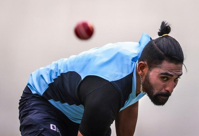 India's Mohammed Siraj bowls in the nets ahead of the third Test in Sydney