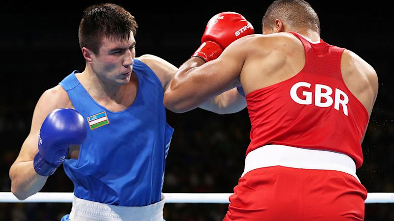 Bakhodir Jalolov, pictured here competing at the 2016 Olympics.