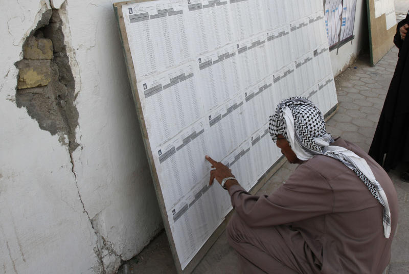 An Iraqi man reads a ballot list at a polling center during the country's provincial elections in Basra, 550 kilometers (340 miles) south of Baghdad, Iraq, Saturday, April 20, 2013. Polls opened amid tight security in Iraq on Saturday for regional elections in the country's first vote since the U.S. military withdrawal, marking an important test of the country's stability. (AP Photo/Nabil Al-Jurani)