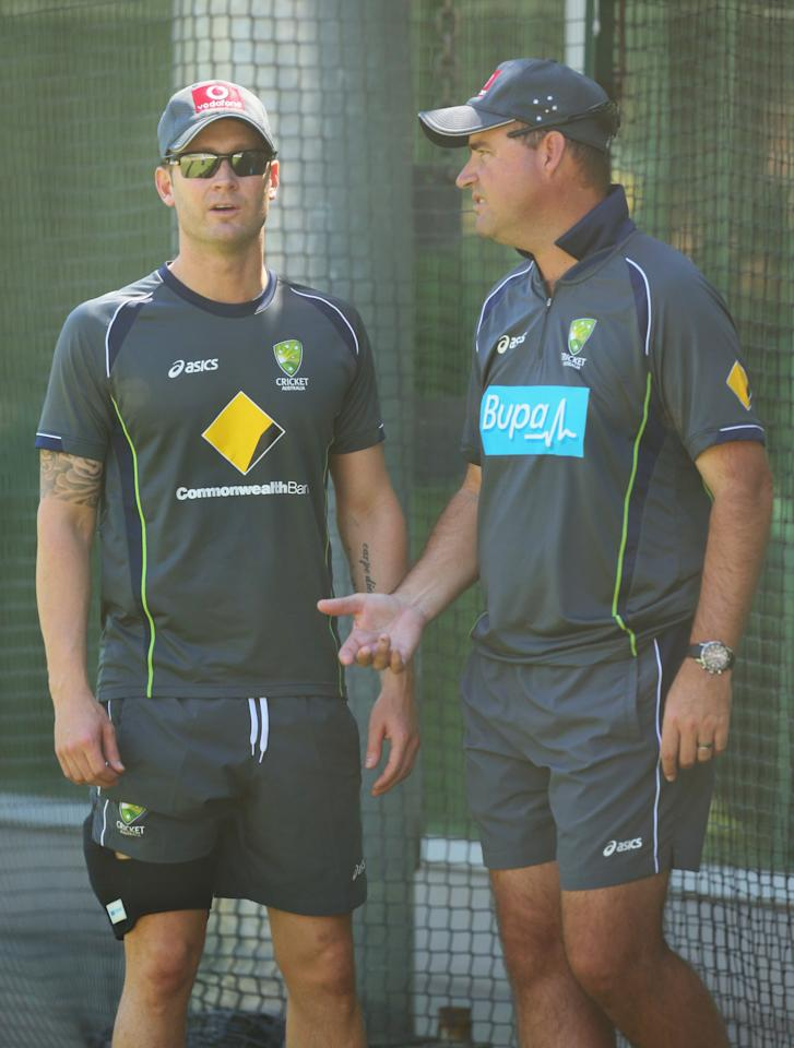 MELBOURNE, AUSTRALIA - DECEMBER 23:  Australian captain Michael Clarke talks with Australian coach Mickey Arthur during an Australian nets session at Melbourne Cricket Ground on December 23, 2012 in Melbourne, Australia.  (Photo by Scott Barbour/Getty Images)