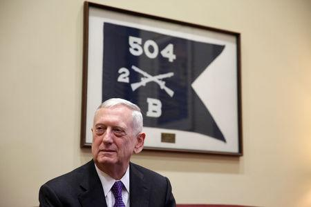 U.S. President-elect Donald Trump's nominee for Secretary of Defense James Mattis meets with Senator Jack Reed (D-RI) on Capitol Hill in Washington.