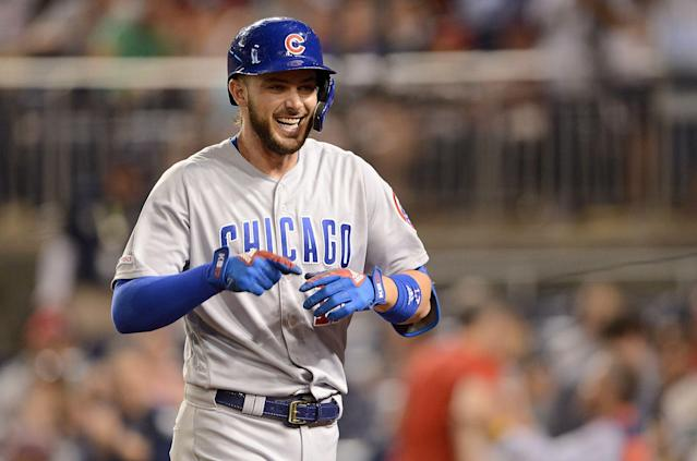 Chicago Cubs slugger Kris Bryant pulled off a rare home run hat trick against the Washington Nationals. (Getty Images)