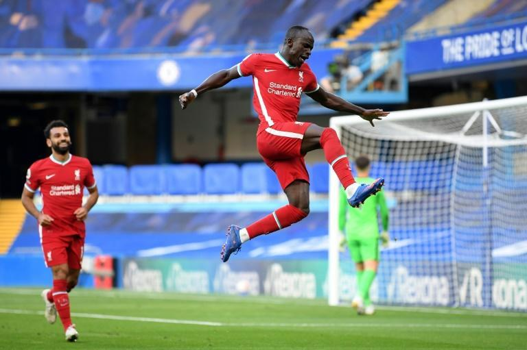 Liverpool's Sadio Mane celebrates after scoring their second goal against Chelsea