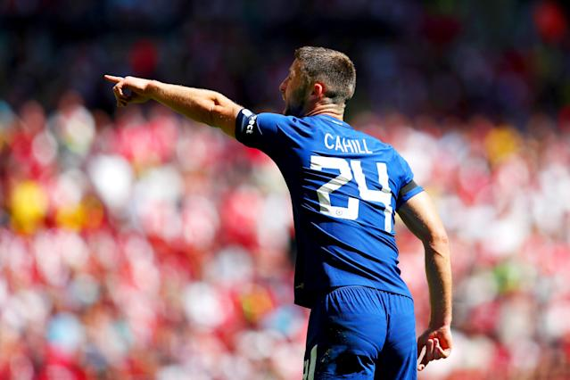 """Is that the Old Lady over there? <a class=""""link rapid-noclick-resp"""" href=""""/soccer/players/gary-cahill/"""" data-ylk=""""slk:Gary Cahill"""">Gary Cahill</a> is wanted by Juventus"""