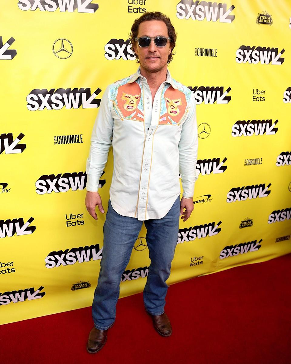 """<h1 class=""""title"""">March 10: Matthew McConaughey</h1> <div class=""""caption""""> Matthew McConaughey hit SXSW in the lucha libre-inspired Western shirt of our dreams. </div> <cite class=""""credit"""">Gary Miller</cite>"""