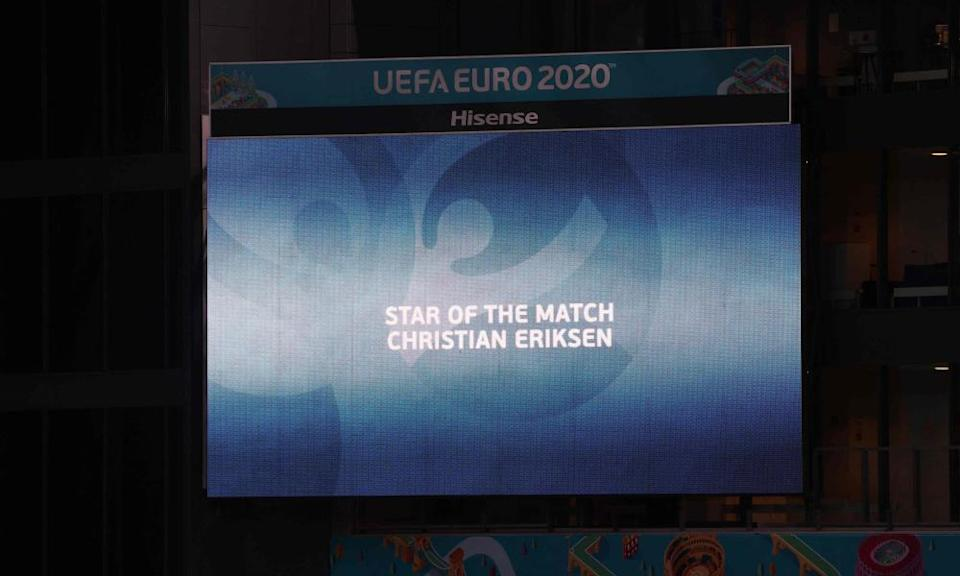 """The absent Christian Eriksen is named """"star of the match"""""""