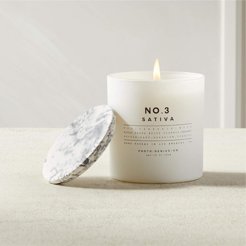 """<h2>CB2 Photogenics No. 3 Sativa Candle</h2><br>This coconut oil wax candle is infused with fresh cannabis-inspired scents that help mellow out the room.<br><br><em>Shop</em> <strong><em><a href=""""https://www.cb2.com/"""" rel=""""nofollow noopener"""" target=""""_blank"""" data-ylk=""""slk:CB2"""" class=""""link rapid-noclick-resp"""">CB2</a></em></strong><br><br><strong>CB2</strong> Photogenics No. 3 Sativa Candle, $, available at <a href=""""https://go.skimresources.com/?id=30283X879131&url=https%3A%2F%2Fwww.cb2.com%2Fphotogenics-no.-3-sativa-candle%2Fs671182"""" rel=""""nofollow noopener"""" target=""""_blank"""" data-ylk=""""slk:CB2"""" class=""""link rapid-noclick-resp"""">CB2</a>"""