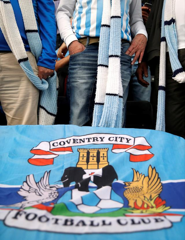 "Soccer Football - League Two Play Off Semi Final Second Leg - Notts County vs Coventry City - Meadow Lane, Nottingham, Britain - May 18, 2018 General view of Coventry City fans' scarves before the match Action Images/Carl Recine EDITORIAL USE ONLY. No use with unauthorized audio, video, data, fixture lists, club/league logos or ""live"" services. Online in-match use limited to 75 images, no video emulation. No use in betting, games or single club/league/player publications. Please contact your account representative for further details."