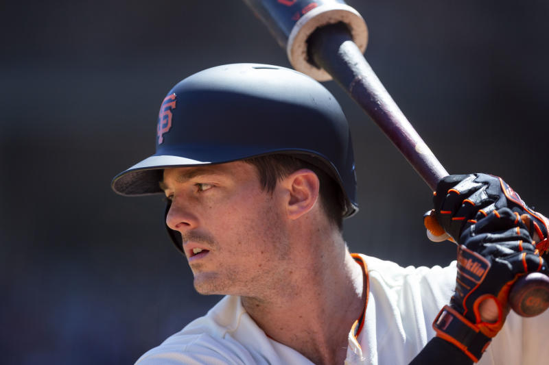 SAN FRANCISCO, CA - JULY 24: San Francisco Giants outfielder Mike Yastrzemski (5) warms up during a game against the Chicago Cubs on July 24, 2019, at Oracle Park in San Francisco, CA. (Photo by Jay Anderson/Icon Sportswire via Getty Images)