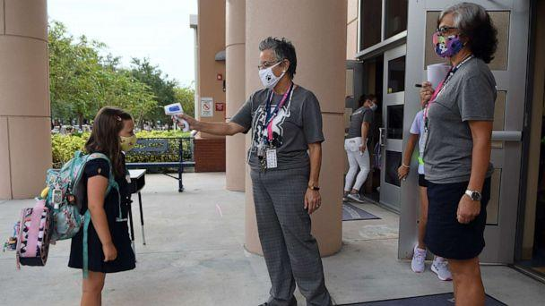 PHOTO: In this Aug. 21, 2020, file photo, a school employee checks the temperature of a student as she returns to school on the first day of in-person classes in Orange County at Baldwin Park Elementary School, in Orlando, Fla. (Paul Hennessy/ZUMA Wire via Newscom, FILE)