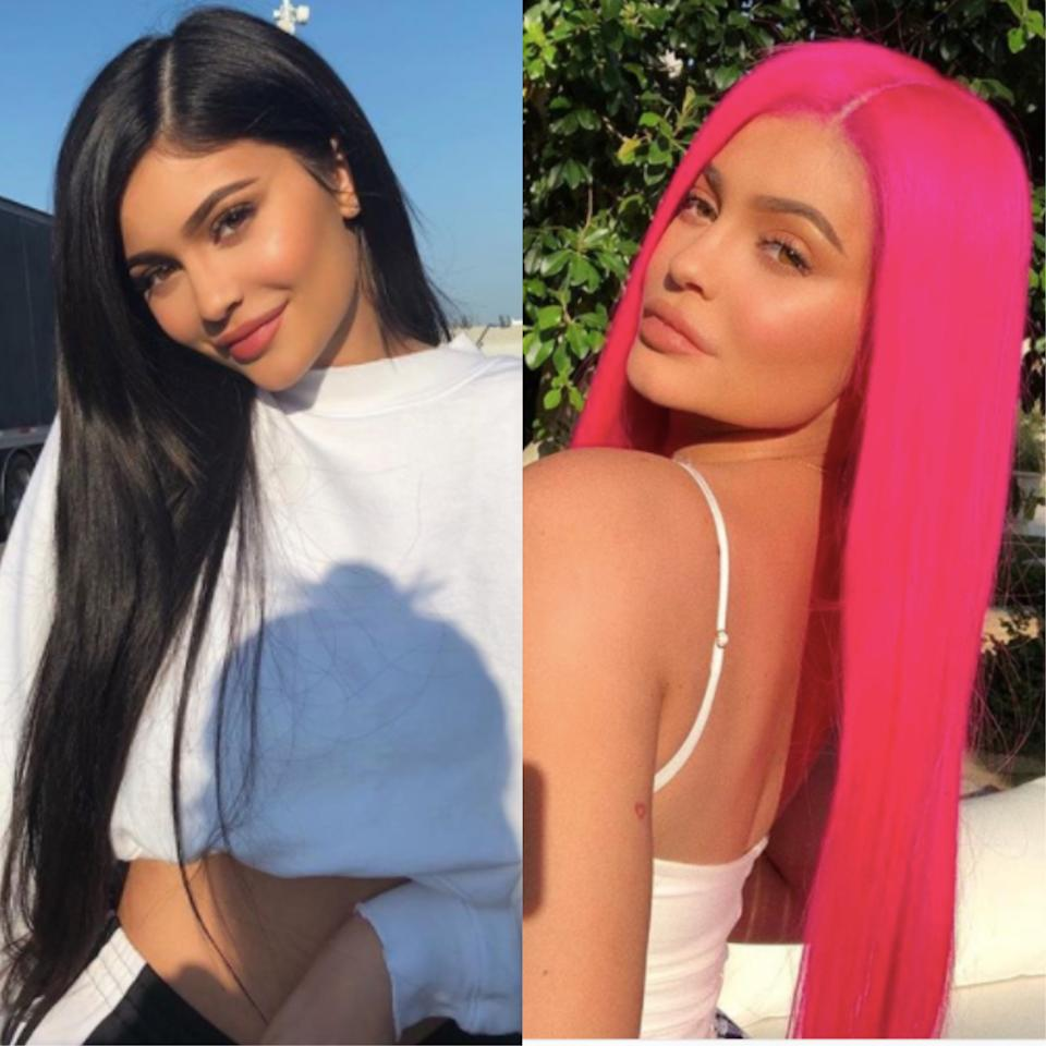 <p><strong>When:</strong> 14 April<br /><br />Yes, Kylie Jenner has earned two top spots for her ever-changing look. Before debuting a denim hue at Coachella, the social media mogul opted for neon pink. </p>