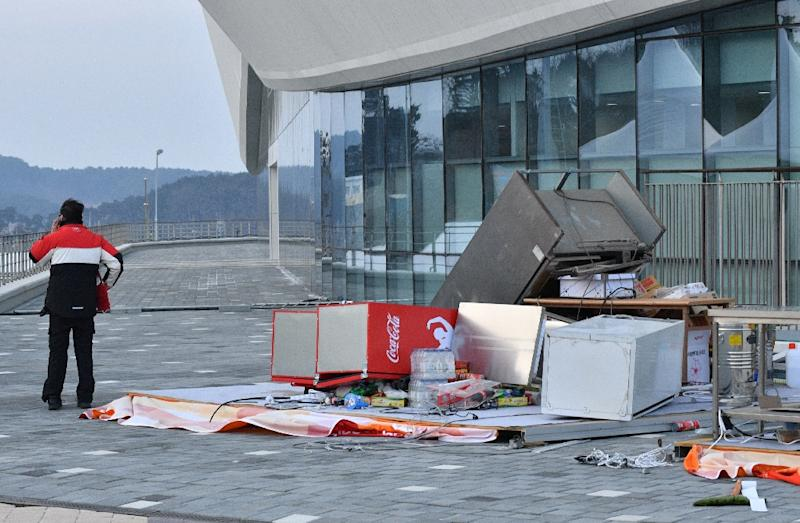 The winds caused chaos at Gangneung Olympic Park. (AFP Photo/Mladen ANTONOV)