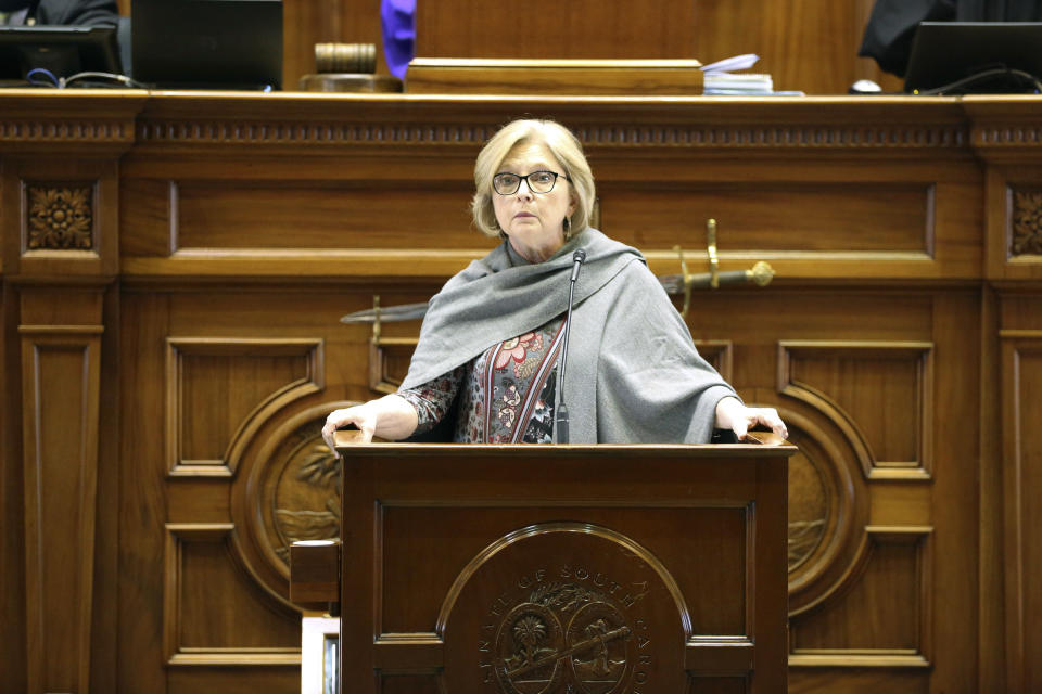 South Carolina Sen. Katrina Shealey, R-Lexington, speaks about a bill that would ban almost all abortions in the state on Thursday, Jan. 28, 2021, in Columbia, South Carolina. Shealey voted for the bill on an initial vote. (AP Photo/Jeffrey Collins)