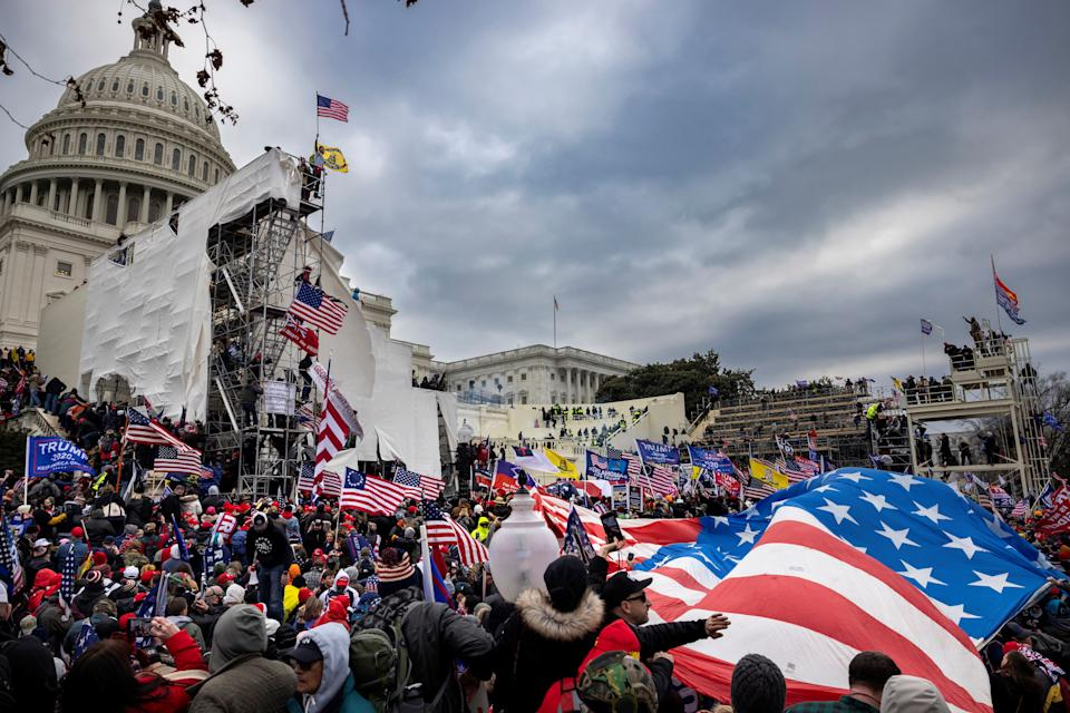 Trump supporters clash with police and security forces as people try to storm the US Capitol in Washington D.C on January 6, 2021. (Brent Stirton/Getty Images)