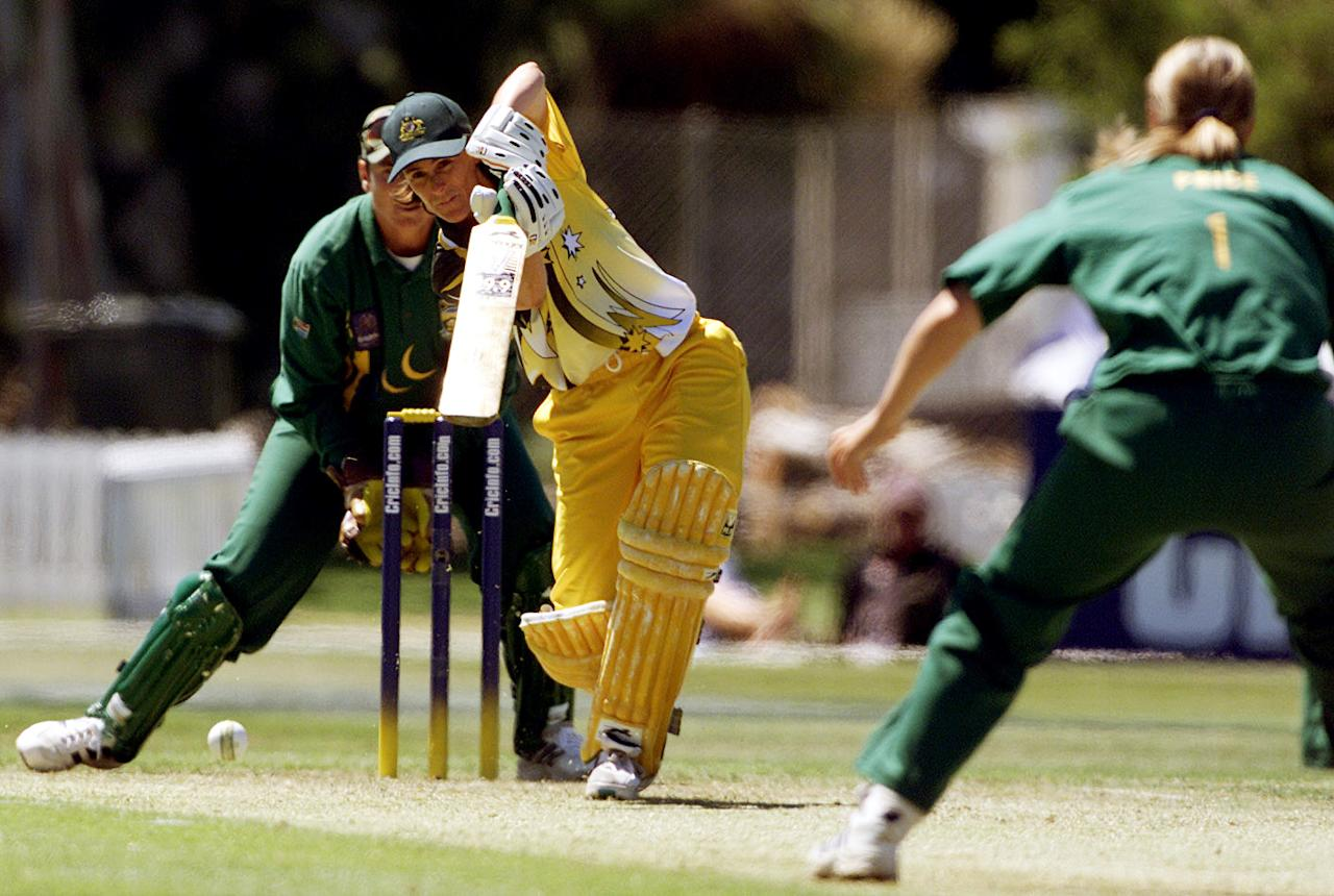 18 Dec 2000:    Belinda Clark of Australia  in action whilst scoring 75 during the Australia v South Africa Semi Final match in the  2000 CricInfo Womens Cricket World Cup match played at BIL Oval, Lincoln, New Zealand. Australia defeated South Africa by9 wickets. DIGITAL IMAGE. Mandatory Credit: Scott Barbour/ALLSPORT