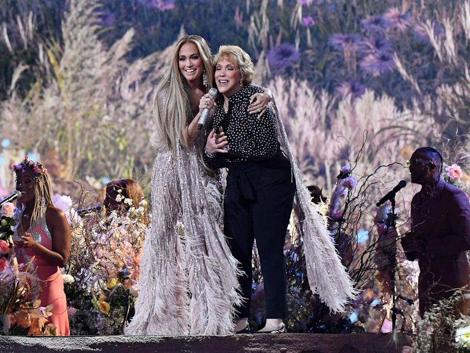 Jennifer Lopez and her mother Guadalupe Rodriguez sing together during the Vax Live fundraising concert on 2 May 2021 in Inglewood, California (VALERIE MACON/AFP via Getty Images)