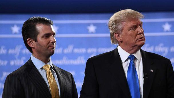 PHOTO: Donald Trump, right, standing with his son Donald Trump Jr. after the first presidential debate at Hofstra University in Hempstead, N.Y., July 10, 2017. (Jewel Samad/AFP/Getty Images)