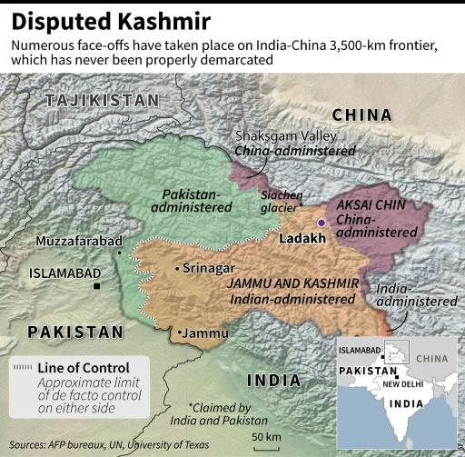 Map of disputed Kashmir showing the areas administered by Pakistan, India and China