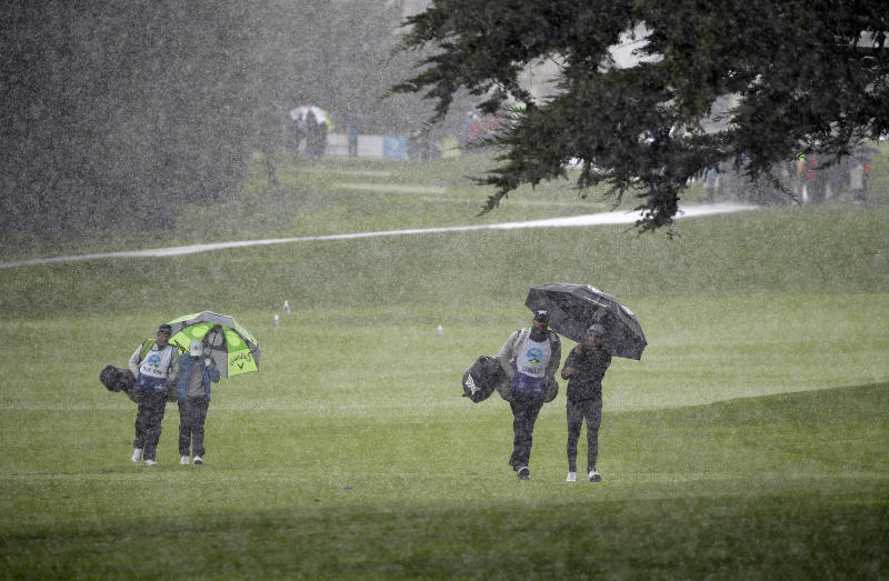 Rain hail delays final round at Pebble Beach