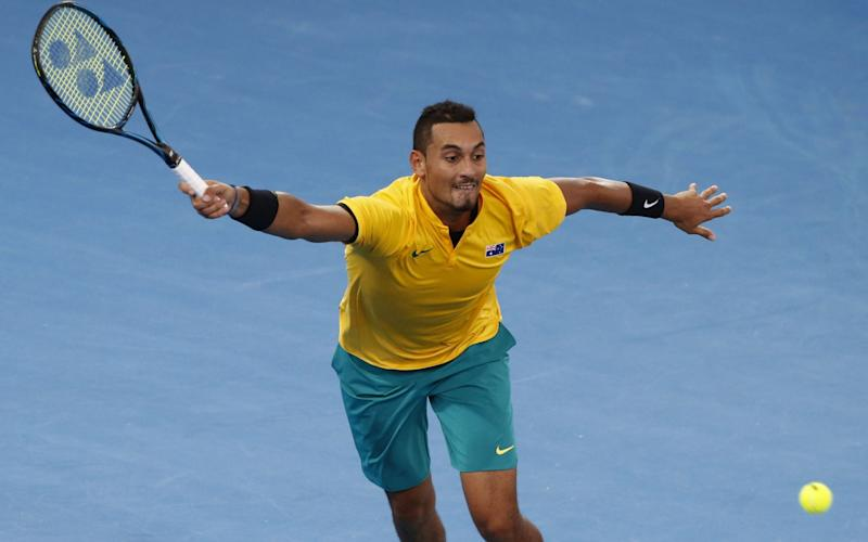 Nick Kyrgios of Australia in action against Sam Querrey of the USA during the Davis Cup World Group Quarterfinal match between Australia and the USA - Credit:  AAP