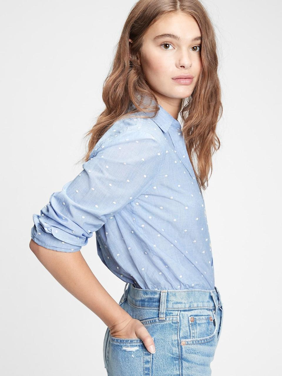 <p>This cute <span>Gap Perfect Shirt</span> ($60) is so versatile, and we love the white swiss dots.</p>