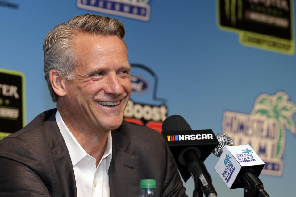 NASCAR President Steve Phelps speaks during a news conference before the NASCAR Cup Series Championship auto race at the Homestead-Miami Speedway, Sunday, Nov. 18, 2018, in Homestead, Fla. (AP Photo/Terry Renna)