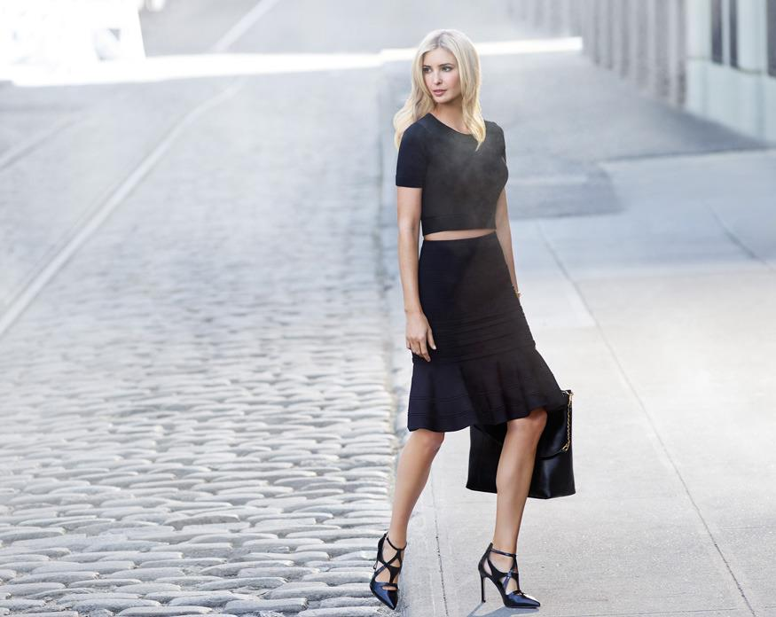 Ivanka Trump wearing a pair of strappy pumps from her own company. This particular style is not named in the lawsuit. (Photo: IvankaTrump.com)