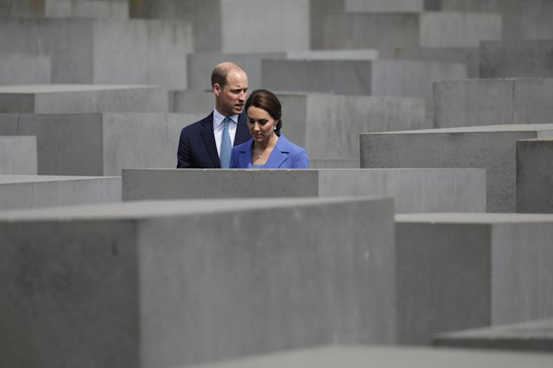 Britain's Prince William and his wife Catherine, Duchess of Cambridge, visit the Memorial to the Murdered Jews of Europe, also known as the Holocaust Memorial, inBerlin,Germany, 19 July 2017. Photo: Kay Nietfeld/dpa (Photo by Kay Nietfeld/picture alliance via Getty Images)